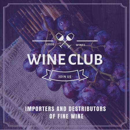 Wine club Invitation with fresh grapes Instagram AD Modelo de Design