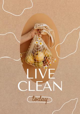 Woman holding Apples in Eco Bag Poster – шаблон для дизайну