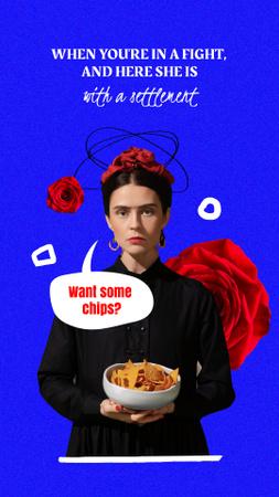 Plantilla de diseño de Funny Illustration of Antique Lady holding Crisps Instagram Story