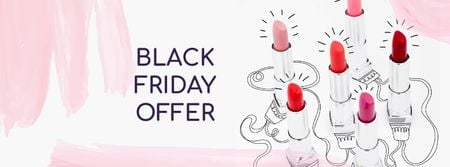 Plantilla de diseño de Lipsticks Offer on Black Friday Facebook cover