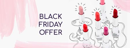 Lipsticks Offer on Black Friday Facebook cover Tasarım Şablonu