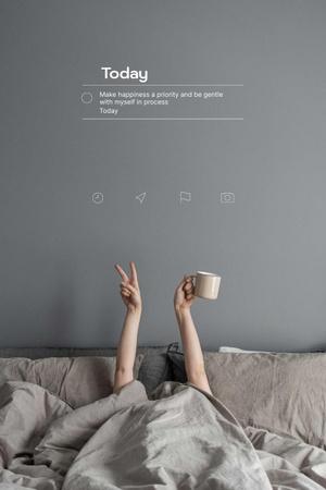 Designvorlage Mental Health Inspiration with Woman in Bed für Pinterest