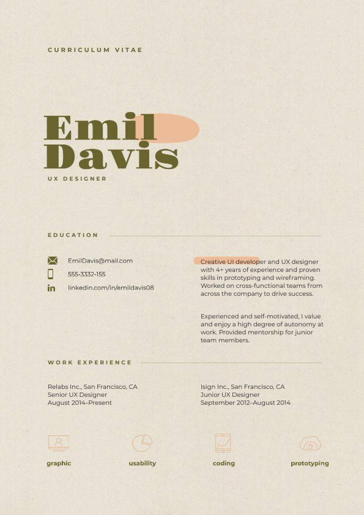 Plantilla de diseño de Web Designer skills and experience Resume