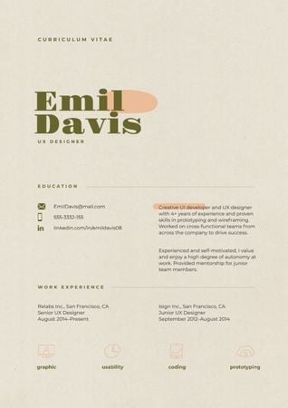 Template di design Web Designer skills and experience Resume
