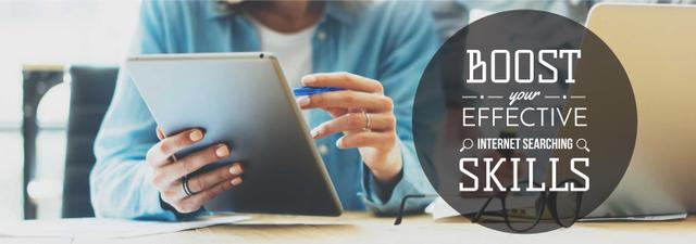 Plantilla de diseño de Internet Search Tips Woman Using Tablet Tumblr