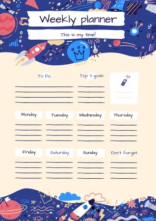 Plantilla de diseño de Bright Weekly Planner with Cosmic Drawings Schedule Planner