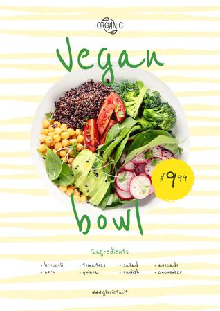 Vegan Menu Offer with Vegetable Bowl Poster Design Template