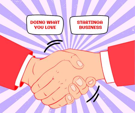 Szablon projektu Illustration of Business Handshake Facebook