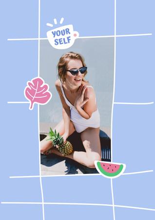 Designvorlage Mental Health Inspiration with Girl holding Watermelon für Poster