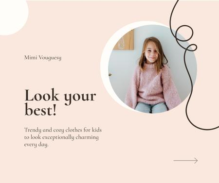 Ontwerpsjabloon van Facebook van Kids' Clothes ad with smiling Girl