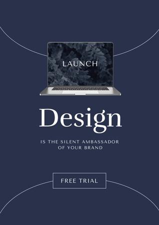 Ontwerpsjabloon van Poster van App Launch Announcement with Laptop Screen