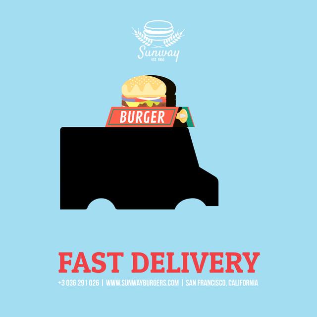 Food Delivery Van with Burger Instagram AD Tasarım Şablonu