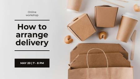 Delivery Workshop offer with Noodles in box FB event cover – шаблон для дизайна