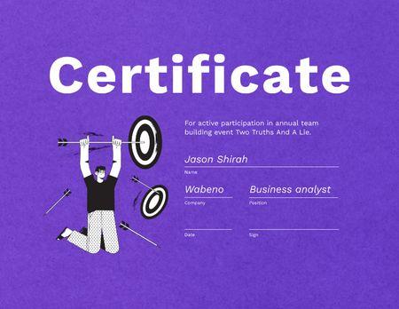 Man hanging on Dart Arrow Certificate Design Template
