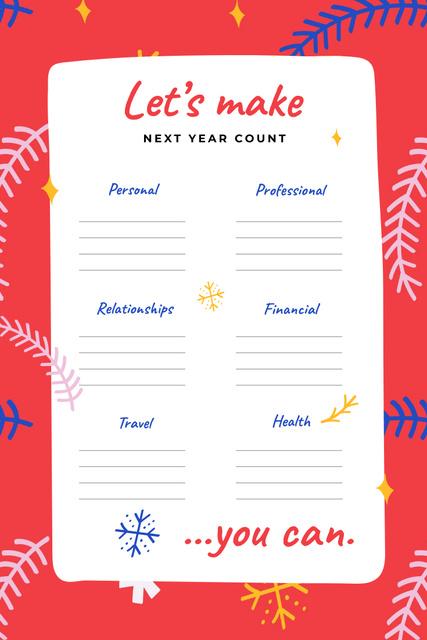 Next Year professional and personal Goals Pinterest – шаблон для дизайну