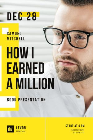 Book Presentation Announcement with Confident Businessman Pinterest Modelo de Design