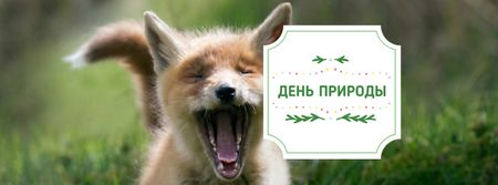 Nature Day Announcement with Cute Fox Facebook cover – шаблон для дизайна