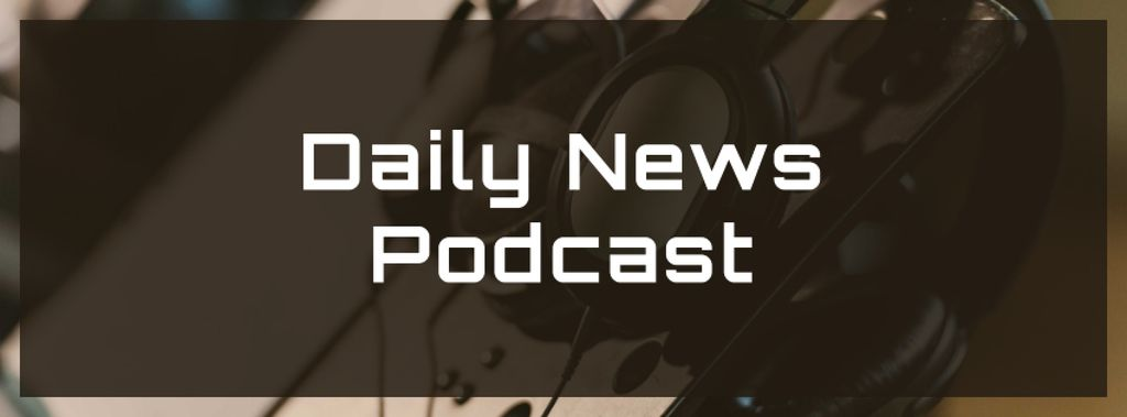 Podcast promotion Headphones in studio — Modelo de projeto