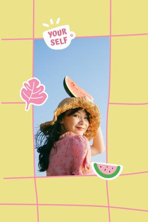 Modèle de visuel Mental Health Inspiration with Girl holding Watermelon - Pinterest