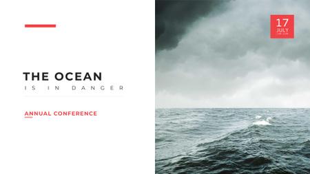 Plantilla de diseño de Ecology Conference Announcement with Stormy Sea FB event cover