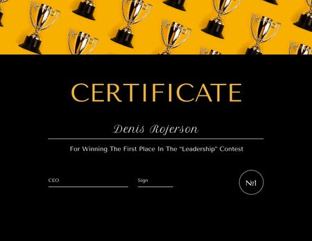 Leadership Contest Award with trophies pattern Certificate Design Template