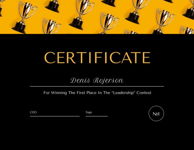 Plantilla de diseño de Leadership Contest Award with trophies pattern Certificate