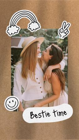 Cute LGBT Couple hugging Instagram Story Design Template