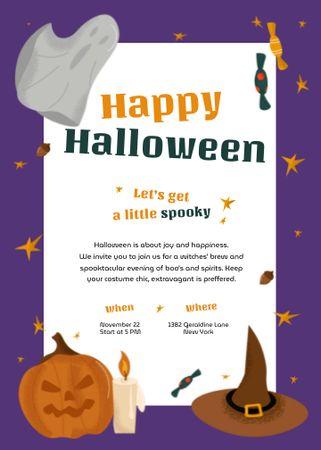 Halloween Greeting with Pumpkin and Witch Hat Invitation – шаблон для дизайна