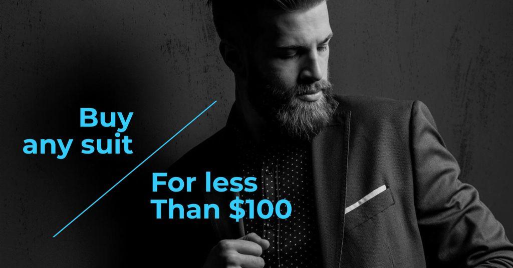 Modèle de visuel Fashion Ad with Confident Man in Stylish Suit - Facebook AD