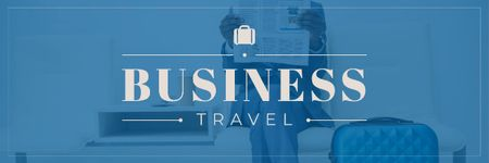 Businessman with Travel Suitcase Email header – шаблон для дизайну