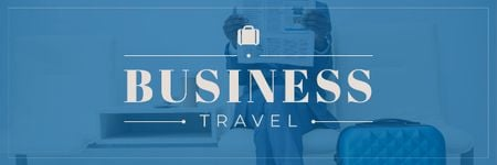 Plantilla de diseño de Businessman with Travel Suitcase Email header