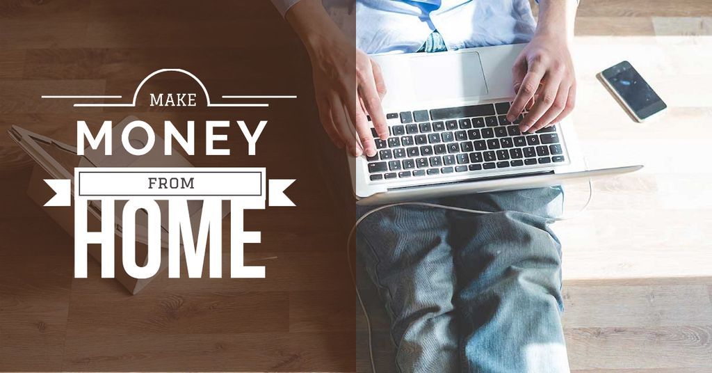 Man typing on laptop at Home — Створити дизайн