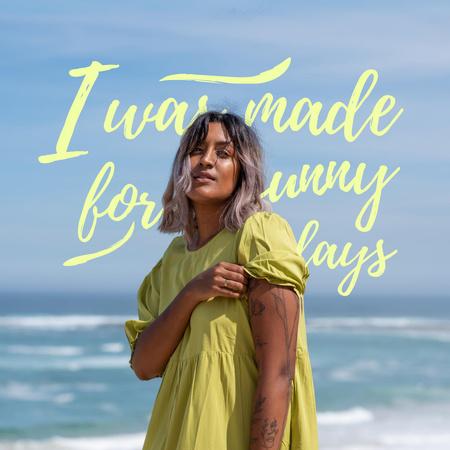 Summer Inspiration with Girl on Sea Instagram – шаблон для дизайну