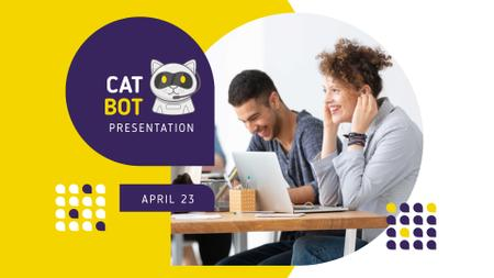 Plantilla de diseño de Bot Presentation Announcement with People using laptops FB event cover