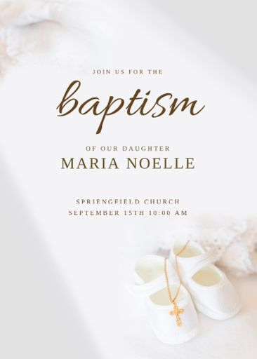 Baptism Announcement With Baby Shoes