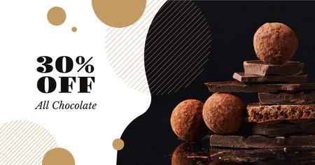 Dark sweet Chocolate sale Facebook AD Design Template