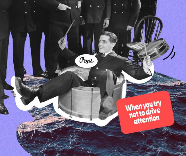 Retro Musician in funny situation Facebook Modelo de Design