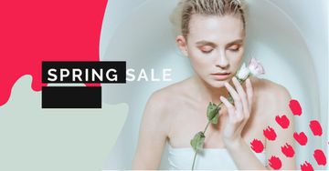 Spring Sale with Tender Woman holding Rose