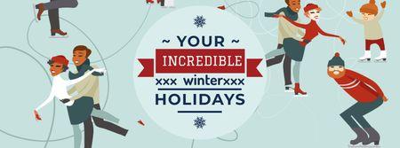 Modèle de visuel People doing Winter activities - Facebook cover