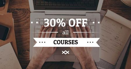 Designvorlage Online Courses Offer with Man typing on Laptop für Facebook AD