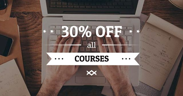 Modèle de visuel Online Courses Offer with Man typing on Laptop - Facebook AD