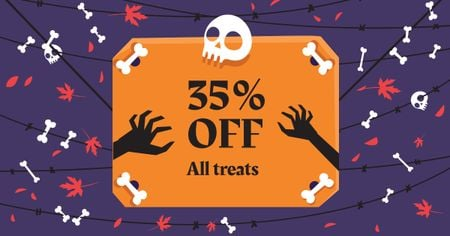 Plantilla de diseño de Halloween Treats Offer with Skull and Bones Facebook AD