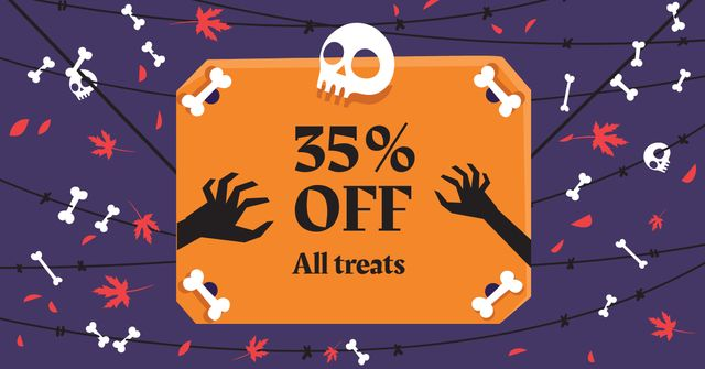 Halloween Treats Offer with Skull and Bones Facebook AD – шаблон для дизайна