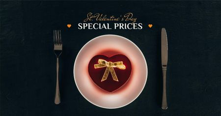 Valentine's Day Dinner with Heart Box Facebook AD Modelo de Design