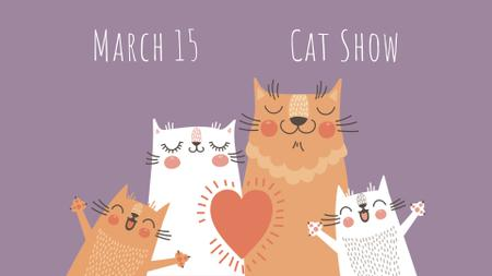 Ontwerpsjabloon van FB event cover van Pet Show ad with Cute Cats