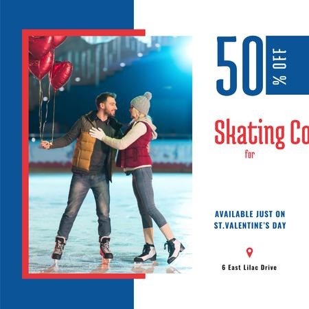 Valentine's Day Couple at Ice Rink Instagram AD Modelo de Design