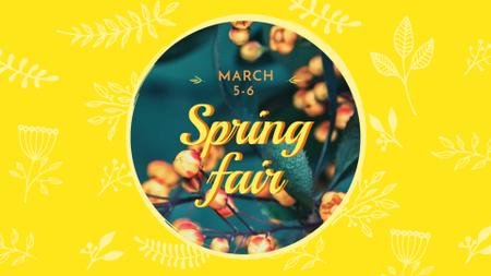Spring Fair Announcement with Blooming Branches FB event cover – шаблон для дизайну