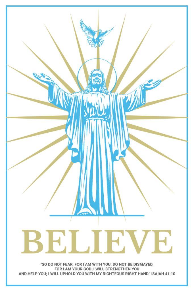 Religious Faith Christ Statue in Blue — Créer un visuel