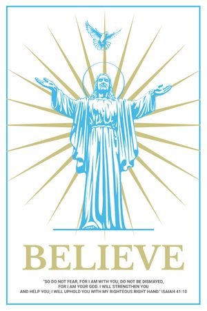 Religious Faith Christ Statue in Blue Tumblr Design Template