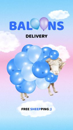 Modèle de visuel Funny Illustration of Cow in Balloons - Instagram Story